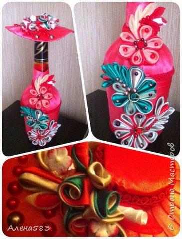 Бутылка-мадам в цветах фото 3