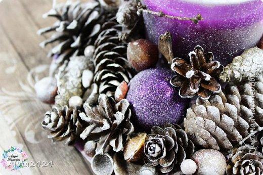 Декорирование свечи природными материалами фото 2