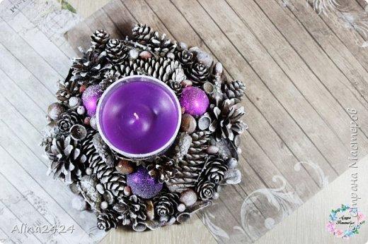 Декорирование свечи природными материалами фото 3