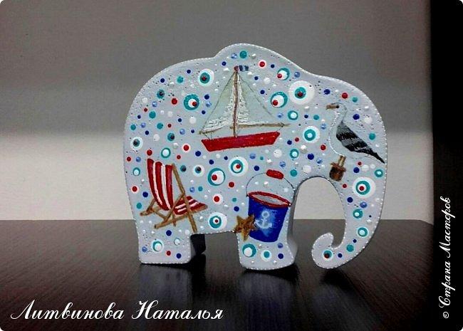 Захотелось мне повторить моего слоняшу-морячка....  Простите, фото на бегу Зацепил меня декупаж на них...... Первый был таким  http://stranamasterov.ru/node/1100044 фото 4