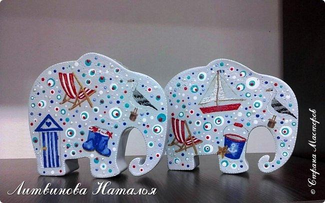 Захотелось мне повторить моего слоняшу-морячка....  Простите, фото на бегу Зацепил меня декупаж на них...... Первый был таким  http://stranamasterov.ru/node/1100044 фото 6