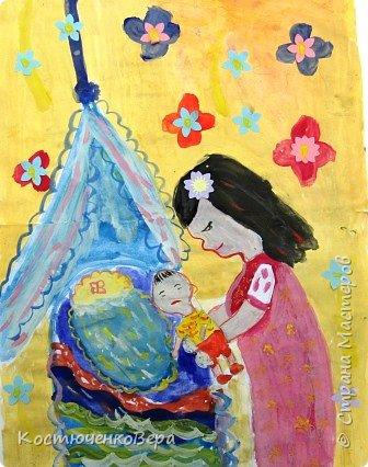 С детьми на внеурочном занятии сделали рисунки ко Дню матери. Работали несколько занятий вложили много сил! Автор Ковылина Алина, 5 класс Мамин сыночек. фото 1