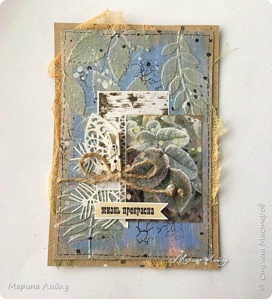 Еще раз всем привет! Вот такая у меня получилась карточка. Прямо ноябрь-ноябрь. Чей-то сад, упавшие на землю листья, которые сковало ночью льдом.  фото 1