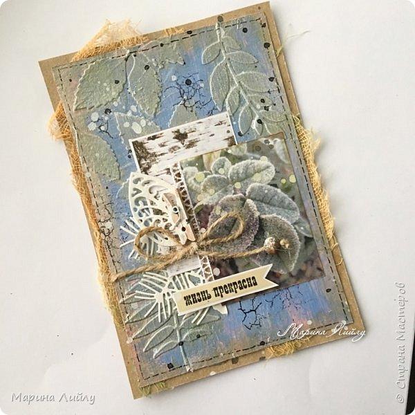 Еще раз всем привет! Вот такая у меня получилась карточка. Прямо ноябрь-ноябрь. Чей-то сад, упавшие на землю листья, которые сковало ночью льдом.  фото 7