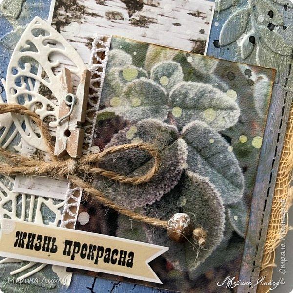 Еще раз всем привет! Вот такая у меня получилась карточка. Прямо ноябрь-ноябрь. Чей-то сад, упавшие на землю листья, которые сковало ночью льдом.  фото 2