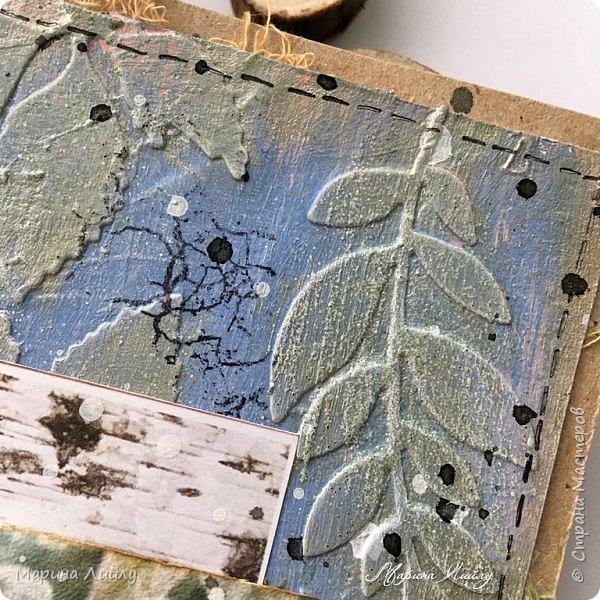 Еще раз всем привет! Вот такая у меня получилась карточка. Прямо ноябрь-ноябрь. Чей-то сад, упавшие на землю листья, которые сковало ночью льдом.  фото 3