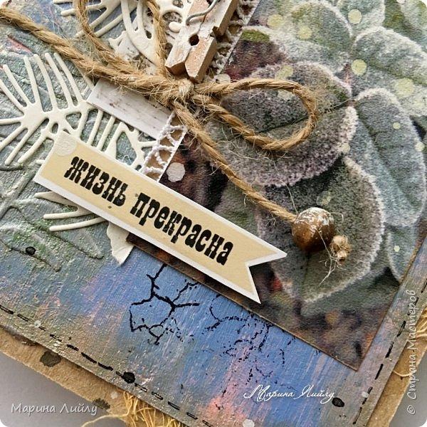 Еще раз всем привет! Вот такая у меня получилась карточка. Прямо ноябрь-ноябрь. Чей-то сад, упавшие на землю листья, которые сковало ночью льдом.  фото 4