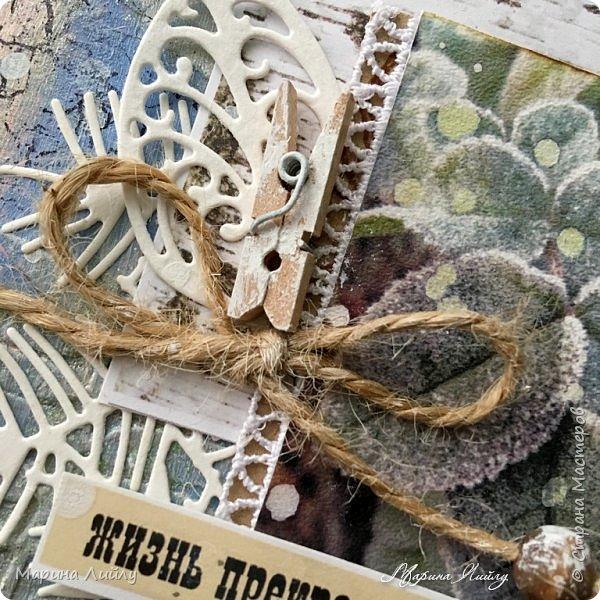 Еще раз всем привет! Вот такая у меня получилась карточка. Прямо ноябрь-ноябрь. Чей-то сад, упавшие на землю листья, которые сковало ночью льдом.  фото 5