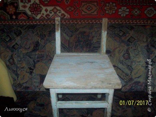 на балконе нашла старый стульчик и решила обновить его фото 3