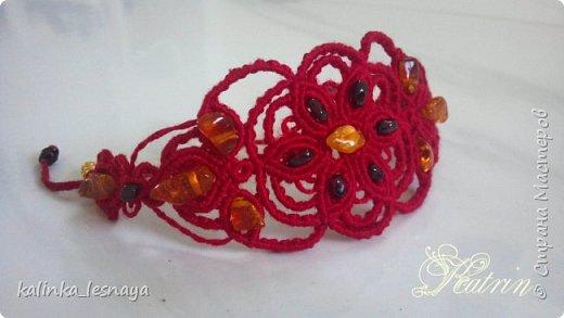 """Крупные серьги """"Красный цветок"""" макраме фото 2"""