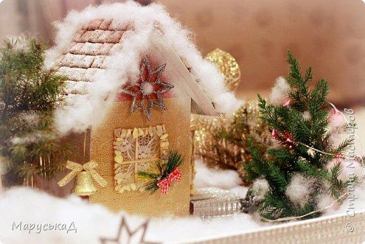зимний дворик. поделка новогодняя.