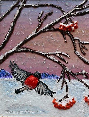"""Доброго времени суток, жители СМ! Панно """"Зимние пташки"""", размер работы 21х30 см. Работа покрыта акриловым глянцевым лаком-спреем. фото 5"""