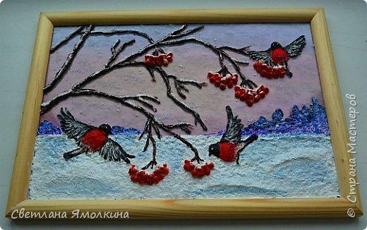 """Доброго времени суток, жители СМ! Панно """"Зимние пташки"""", размер работы 21х30 см. Работа покрыта акриловым глянцевым лаком-спреем. фото 8"""