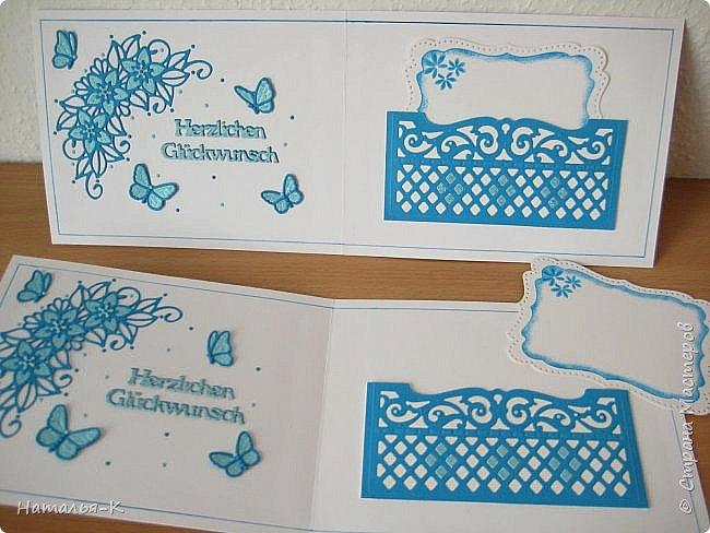 Добрый день или вечер, всем кто заглянул ко мне в гости. Сегодня у меня открытки - двойняшки.  Совершенно одинаковые, просто поиграла с цветом бумаги. Размер 13 х 17 см. фото 8