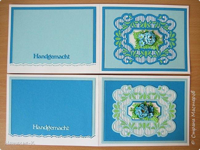 Добрый день или вечер, всем кто заглянул ко мне в гости. Сегодня у меня открытки - двойняшки.  Совершенно одинаковые, просто поиграла с цветом бумаги. Размер 13 х 17 см. фото 2