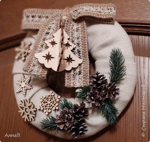 Новогодний венок из свитера фото 1