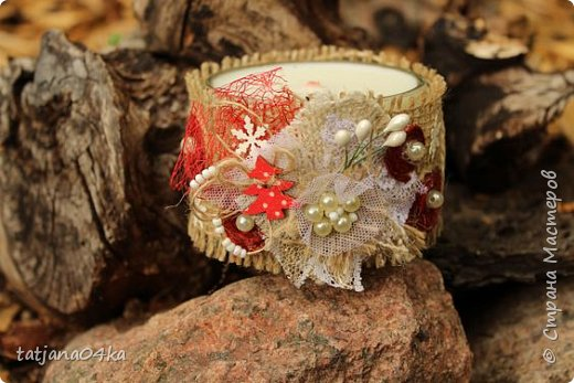 Каждый год создаю свечи в подарок,,,в этом году попыталась сделать декор из  ниток,,и всё равно вернулась к яркому  оформлению,,, фото 5