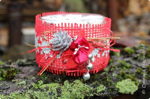 Каждый год создаю свечи в подарок,,,в этом году попыталась сделать декор из  ниток,,и всё равно вернулась к яркому  оформлению,,, фото 6