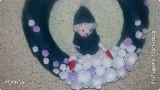 Новогодний веночек со снеговиком, сколько не фотографировала никак не получается фото((( фото 2