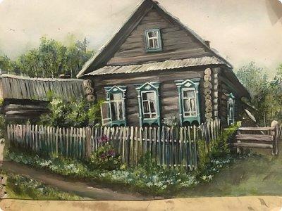 Картины акварелью, моя Деревня  фото 2