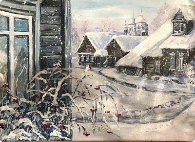 Картины акварелью, моя Деревня  фото 8