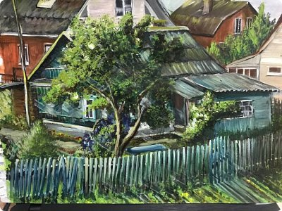 Картины акварелью, моя Деревня  фото 4