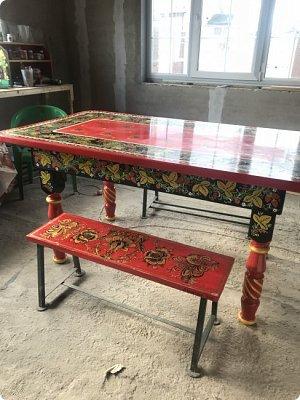 Стол в стиле хохлома , полностью ручная работа фото 3