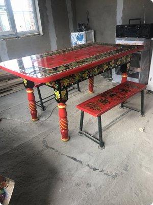 Стол в стиле хохлома , полностью ручная работа фото 2