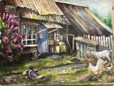 Картины акварелью, моя Деревня  фото 7