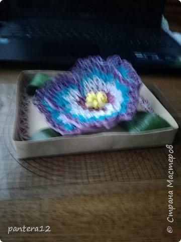 Всем доброе время суток.  Этот цветок я делала очень долго, то полоски нужного цвета заканчивались, то другое занятие отнимало время. Но вот наконец то я её закончила и представляю вашему вниманию. Вид с верху. фото 3