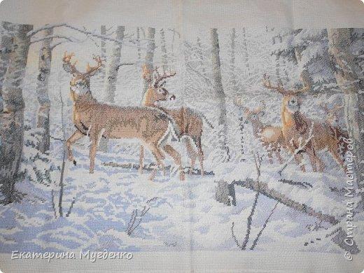 """Вышивка """"Олени в зимнем лесу"""""""