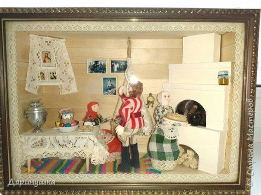 """Румбокс был сделан для участия в православном конкурсе - """" Пасхальное яйцо """". Картина с подсветкой. Дрова в печке """"горят"""", от икон исходит свечение. фото 1"""