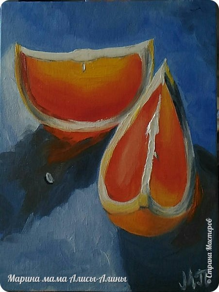 Ещё в октябре написала маленькую картину с грейпфрутами. фото 2