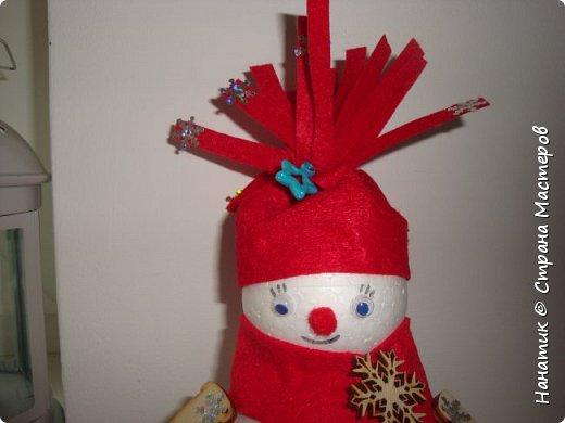 Добрый день! Сотворилась у меня такая вот пара снеговичков. Понравилось мне их делать. Думаю, еще сотворить) Снеговики стоят на спилах. Спил - это простор для фантазии).  Сейчас покрутимся и покрасуемся).   фото 3