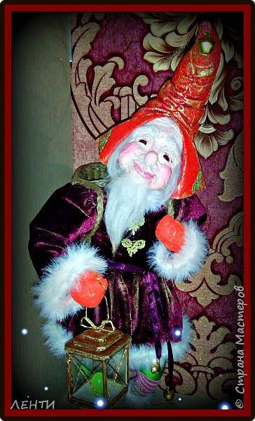 """Доброе утро, а может день или вечер...!!!!!!!!!! Дорогие друзья хотела поделиться с вами своей новой работой """" Рождественский гном"""" Времени совсем не остаётся на творчество, но иногда (когда уж совсем наступает тоска по куклам) всё же сажусь и занимаюсь своим любимым делом, как отдушина для души...  фото 2"""