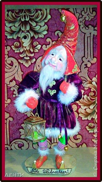 """Доброе утро, а может день или вечер...!!!!!!!!!! Дорогие друзья хотела поделиться с вами своей новой работой """" Рождественский гном"""" Времени совсем не остаётся на творчество, но иногда (когда уж совсем наступает тоска по куклам) всё же сажусь и занимаюсь своим любимым делом, как отдушина для души...  фото 6"""