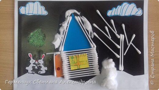 """Сегодня с ребятами 3 """"А"""" класса сделали аппликацию """" Зайкина избушка""""  из .ватных палочек .Как только закончили  работу,  пошел сильный снежок!!!   И ребята прокомментировали: """" Это Зимушка - зима обрадовалась ,что мы ее ждем  и  отправила снежинки на Землю!"""" Все вокруг стало белым-бело нарядным,чистым  !!! И ребятишки после уроков быстрее побежали   на площадку  -играть в снежки. фото 23"""