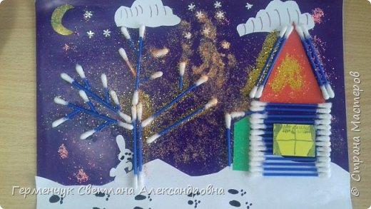 """Сегодня с ребятами 3 """"А"""" класса сделали аппликацию """" Зайкина избушка""""  из .ватных палочек .Как только закончили  работу,  пошел сильный снежок!!!   И ребята прокомментировали: """" Это Зимушка - зима обрадовалась ,что мы ее ждем  и  отправила снежинки на Землю!"""" Все вокруг стало белым-бело нарядным,чистым  !!! И ребятишки после уроков быстрее побежали   на площадку  -играть в снежки. фото 21"""
