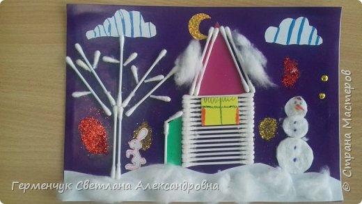 """Сегодня с ребятами 3 """"А"""" класса сделали аппликацию """" Зайкина избушка""""  из .ватных палочек .Как только закончили  работу,  пошел сильный снежок!!!   И ребята прокомментировали: """" Это Зимушка - зима обрадовалась ,что мы ее ждем  и  отправила снежинки на Землю!"""" Все вокруг стало белым-бело нарядным,чистым  !!! И ребятишки после уроков быстрее побежали   на площадку  -играть в снежки. фото 5"""