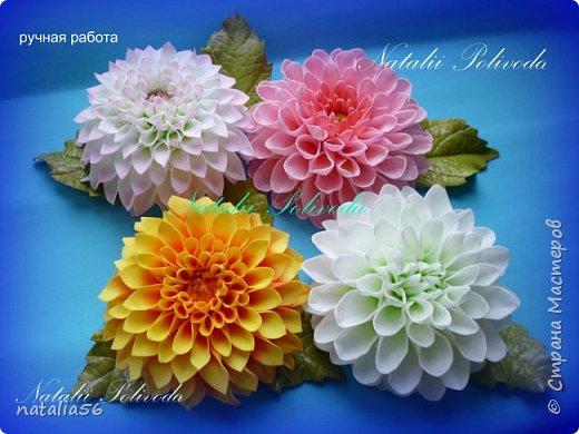 Всем ДОБРЫЙ ДЕНЬ!!! Давно здесь не была... Вот решила выставить свои работы из зефирного и Иранского фоамирана ... Приглашаю вас посмотреть и оценить мои цветочки для моих  внучек...  Все эти георгинки сделаны на резиночке из зефирного фома... Делала для моих дорогих внучек , которые живут в Туле...  фото 8