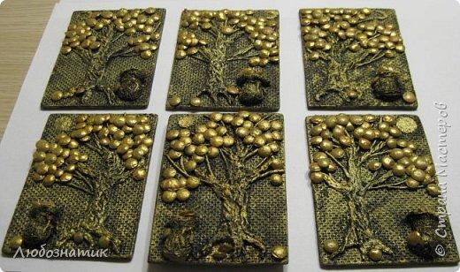 """Всем огромный привет!!! Представляю вам АТС карточки """"Дерево богатства"""".  Это тоже моя давняя хотелка-повторюшка. Спасибо огромное всем мастерам за МК!!! Вначале решила попробовать... и вот появилась такая серия АТС карточек.  Техника аппликация. Основа ДВП, папье-маше, скрученные жгутики из бумажных салфеток, акриловые краски, клей момент, а монетки - это чечевица :-)  Приглашаю к выбору: Нелю (должок за """"Косточки""""), Наташу Орлову (должок за """"Новогодние хлопоты""""),Машу Соколовскую (должок за """"Витраж. Путешествия""""), Ирина (Самурайчик) (должок за """"Новогодняя"""") и p_olya71 (Ольга) прошу их выбирать, если им понравиться. фото 28"""