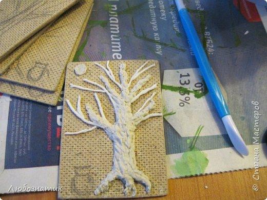 """Всем огромный привет!!! Представляю вам АТС карточки """"Дерево богатства"""".  Это тоже моя давняя хотелка-повторюшка. Спасибо огромное всем мастерам за МК!!! Вначале решила попробовать... и вот появилась такая серия АТС карточек.  Техника аппликация. Основа ДВП, папье-маше, скрученные жгутики из бумажных салфеток, акриловые краски, клей момент, а монетки - это чечевица :-)  Приглашаю к выбору: Нелю (должок за """"Косточки""""), Наташу Орлову (должок за """"Новогодние хлопоты""""),Машу Соколовскую (должок за """"Витраж. Путешествия""""), Ирина (Самурайчик) (должок за """"Новогодняя"""") и p_olya71 (Ольга) прошу их выбирать, если им понравиться. фото 23"""