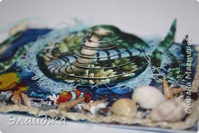 Привет всем моим друзьям и гостям странички. Лето ,жара..... желание поплавать на море, вообщем у меня с утра такое морское  настроение. Увидев картинки с 3D-эффектом, я решила попробовать сделать такую серию карточек.  Спасибо ИРИСКА 2012 и ее доченьке Людочке  они живут  в СМ здесь (http://stranamasterov.ru/user/191152) за то что прислали мне ракушек с побережья Черного моря, а точнее с Одессы. Я решила  их использовать, для актуализации дна морского. фото 17