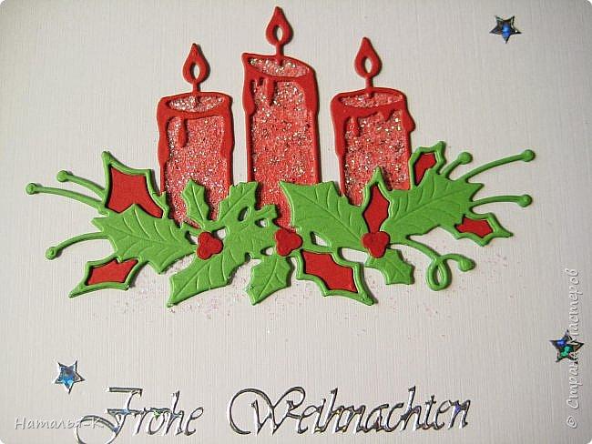 Добрый день или вечер, всем кто заглянул ко мне в гости.  У нас уже скоро Рождество, начала делать открытки, это первая... фото 4