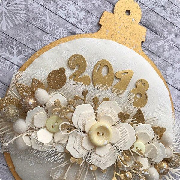 """Продолжаю сама готовиться к Новому году  и помогаю другим:)  Сегодня провела мк по открытке / карточка """" Новогодний шар"""".  фото 2"""