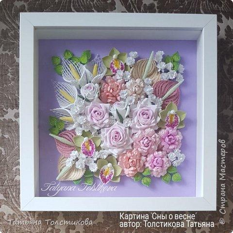 """Представляю свою картину """"Сны о весне"""". Размер 23х23. В работе использованны бумажные полосы шириной 3 мм, 2 мм и 1,5 мм. фото 3"""