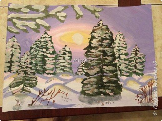 """Здравствуй """"Страна Мастеров"""" Хочу поделится рисунками своей дочки. Рисует она почти с пелёнок, ну 1,5 лет точно. Хочу показать вам некоторые рисунки: 1 Первый рисунок """"Сказки зимнего леса"""", рисовала в 10 лет в школу на конкурс, получила первое место. фото 9"""
