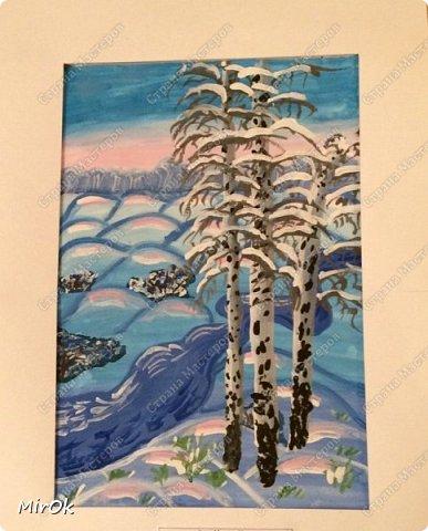 """Здравствуй """"Страна Мастеров"""" Хочу поделится рисунками своей дочки. Рисует она почти с пелёнок, ну 1,5 лет точно. Хочу показать вам некоторые рисунки: 1 Первый рисунок """"Сказки зимнего леса"""", рисовала в 10 лет в школу на конкурс, получила первое место. фото 1"""