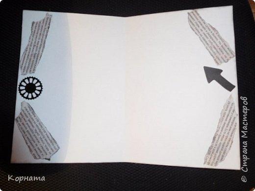 Доброго времени суток, дорогие друзья!  Давненько я не делала газетных открыток, правда раньше я их все больше женские делала, а тут...Открыточка мужская прям вся!  Тут вам и газета, тут вам и машины, тут вам и механизмы всякие!))) Ну, вот все что можно было сюда втиснуть, я по моему втиснула!)))  фото 3