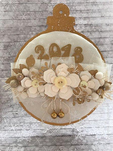 """Продолжаю сама готовиться к Новому году  и помогаю другим:)  Сегодня провела мк по открытке / карточка """" Новогодний шар"""".  фото 11"""